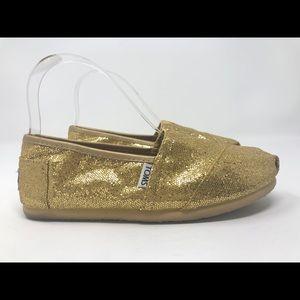 Toms gold sparkle flats Size 7W